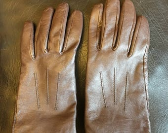 Vintage leather brown winter gloves points