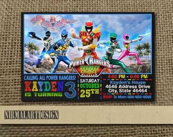 Power Rangers Invitation, Power Ranger Birthday, Power Ranger Party, Power Ranger Card, Power Ranger Printable, Power Ranger Invitation, Boy