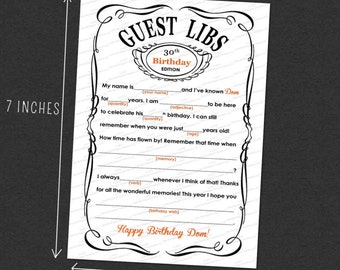 CUSTOM Guest Mad Libs Adult Birthday Printable 5 × 7 Customized - I Design, You Print