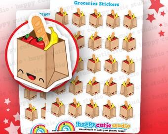 25 Cute Groceries/Shopping Planner Stickers, Filofax, Erin Condren, Happy Planner,  Kawaii, Cute Sticker, UK