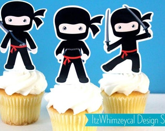 Boy Ninja Karate Samurai Die Cut Cupcake Topper (One Dozen)