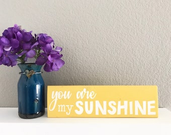 You are my sunshine yellow wood block sign | reclaimed pallet wood sign | home decor