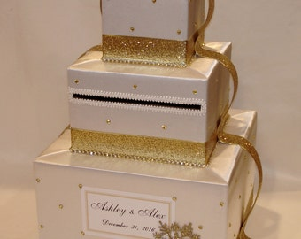 Ivory and Glitter Gold Winter theme Card Box/Card Holder
