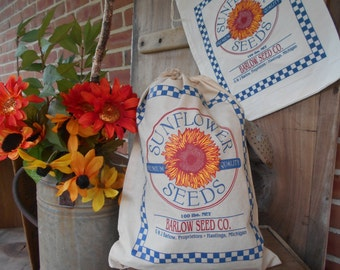 feed sack, Flower sack, seed bag, feed bag, Sunflower,  feed sack, gift bag, Barlow, grain bag,  fabric supplies, craft supply, seed sack
