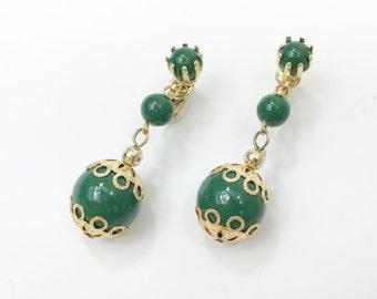 60s Green Drop Earrings