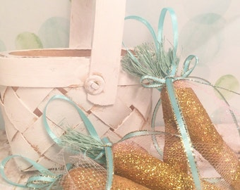 Easter ornament gold and aqua spring decor carrot ornament vintage inspired fairytale spring decor party decor