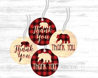 Buffalo Plaid baby shower Thank you tags baby bear shower thank you tags Favor tags Birthday party Baby shower (BFB101)