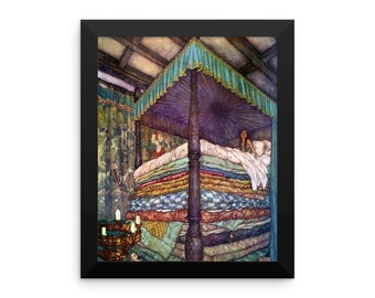 The Princess and the Pea Reproduction Art print by Edmund Dulac Framed poster