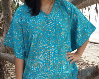 Plus Size, Ocean Blue, Batik Dress, Tunic Dress, Caftan Dress, Kaftan Dress, Pregnant Dress, Maternity Dress, Beach Coverup, Womens Dresses