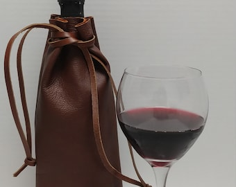 Drawstring Leather Pouch Brown Bag