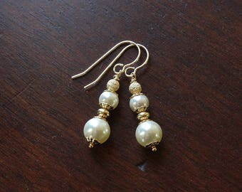 Gold and pearl earrings swarovski pearl earrings drop earrings dangle earrings wedding earrings wedding jewelry elegant earrings white pearl