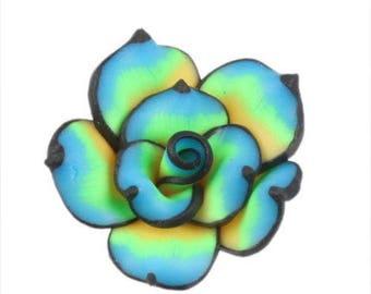 x 2 tone blue 25 mm polymer clay flower beads