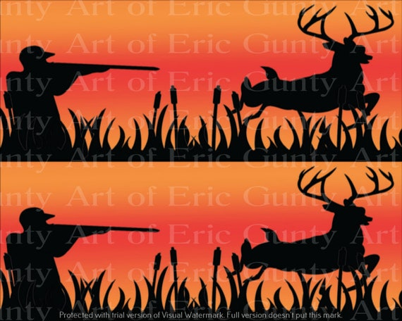 Orange Deer Hunting Birthday - Edible Cake Side Toppers- Decorate The Sides of Your Cake! - D24134