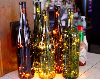 Three Recycled Wine Bottle Lights - Wine Gift, Gift for Her, Wine Bottle Lamp, Wine Decor, Housewarming, Wedding, Anniversary, Birthday