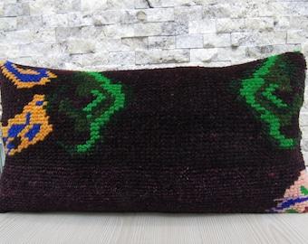 Turkish Carpet Handmade Pillow 10x20 Home Decor Floor Cushion Lumbar Pillows  25x50 Bohemian Decor Throw Pillow