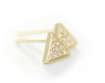 14k Yellow Solid Gold Triangle Diamond Stud Earrings,Dainty Simple Diamond Post earrings