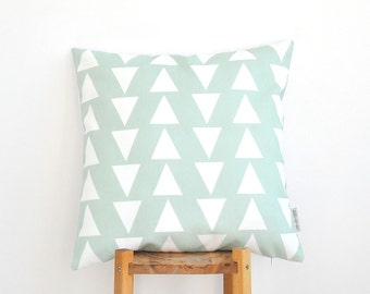 "Mint Decorative Pillow, Geometric Kids Pillow, Modern Kids Pillows, Nursery Pillow, Throw Pillow, Triangle Pillow 16"" x 16"""