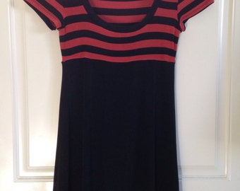 Women's 90's short sleeve burnt orange blood orange and black striped empire waist mini dress by BCBG size Small