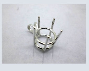 9mm - 15 mm Round Pre-Notched Sterling Silver 5-Prong Pendant Basket Mounting