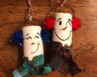Snowman wine cork ornament set
