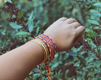 friendship bracelet. for him. for her. festival fashion. boho chic. cotton threads. aztec pattern. woven jewelry made with love + protection