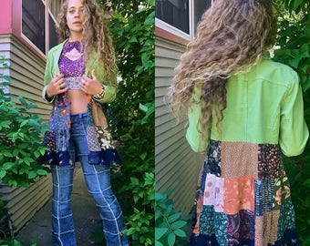 Patchwork Jacket, Size M/L,festival jacket, patchwork blazer, eco jacket, upcycled jacket, hippy coat, green jacket, Zasra