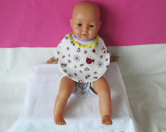 "Red patterns ""ladybugs"" newborn baby bib"