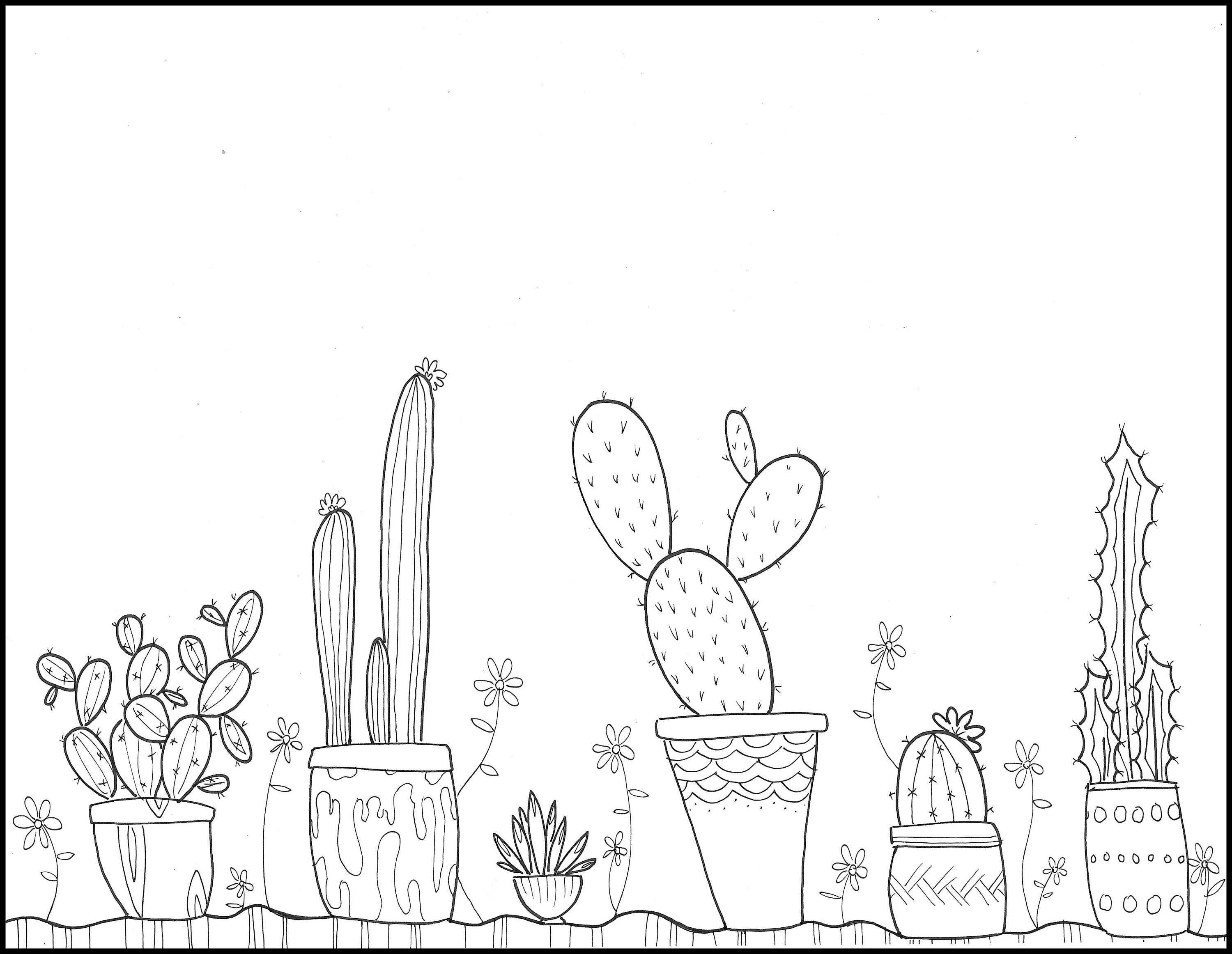 Printable Coloring Page Potted Cacti