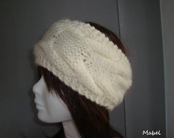 Alpaca hand knit cream cabled headband