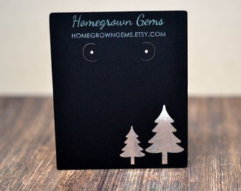 Glitter Silver Christmas Trees Earring Cards on Black Custom Personalized Product Display Packaging - Necklace - Hairbows - Jewelry