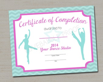 Dance Certificate, Gymnastics Certificate PRINTABLE DIGITAL FILE 8.5 x 11