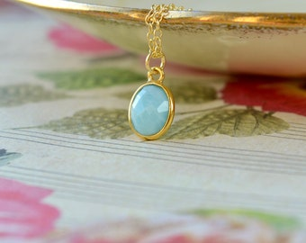 Larimar Necklace, Blue Stone Pendant, Pale Blue Necklace, Dainty Gold Vermeil Chain, Larimar Stone Jewelry, Blue Gift Women, Mothers Day
