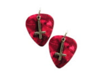 Real Deep RED Guitar Picks with Evil Satanic Occult INVERTED CROSS Pewter Charms Musical Dangling Guitar Pick Hook Wire Pierced Earrings