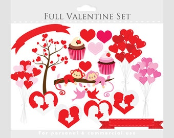 Valentine's Day clip art - romantic clipart, hearts, balloons, cupcakes, couple, prince and princess silhouettes, red, pink, tree, birds