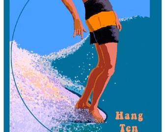 HANG TEN Oringinal Art Glicee Print Vintage Style Surfing Art Travel Poster Malibu Beach California Beach Pacific Coast Surfing USA