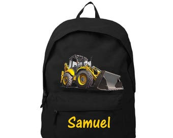 bag has black back backhoe personalized with name