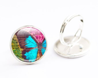 Butterfly Ring - Glass Butterfly jewelry - Bright Butterfly Ring - Glass Butterfly Ring (butterfly 8)
