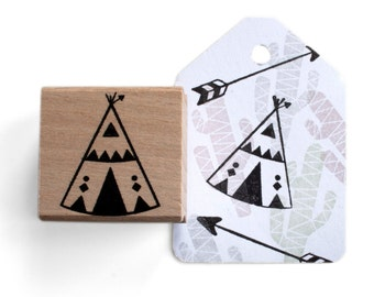 Tepee rubber stamp - DIY bohemian theme stamps - tipi stamps for your bohemia themed invitations - north america teppe,camping rubber stamp