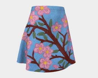 Cherry Blossoms - Fine Art All Over Print Flare Skirt