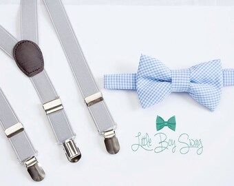 Blue Checkered Bow Tie Light Gray Suspenders For Boys, 1st Birthday Boy, Ring Bearer Outfit, Cake Smash Outfit, Boys Clothes, Wedding Bowtie