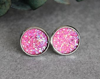 Large Pink Earrings, Pink Druzy Earrings, Pink Stud Earrings, Pink Earrings, Faux Druzy Earrings, Pink Post Earrings, Bright Pink Earrings