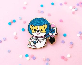 Space Corgi Pin, Enamel Pin, Lapel Pin, Pins, Welsh Corgi, Space Pin, Cute Pins, Dog Pin, Corgi Pins, Corgi, Gift for dog lover, corgi lover