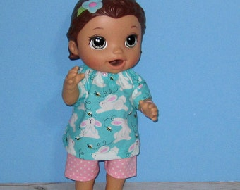 Baby Alive Snackin Lily ,Baby Alive Sweet Spoonfuls,  Bunny Top Short Set, Girl Doll Clothes, 12 13 inch Doll Clothes, Outfit