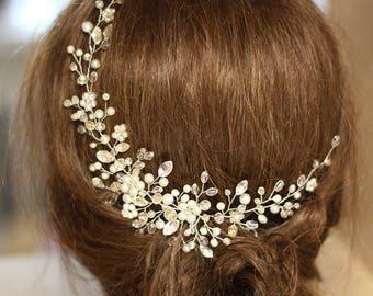 Pearl Bridal Hair Piece Ivory Bridal Headpiece Bridal Hair Adornments Wedding hair accessories Bridal hair accessories Pearl crystal  vine