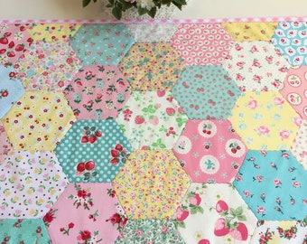 pretty spring hexie patchwork table topper