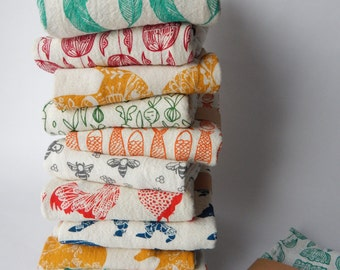 Kitchen Towels, Hand Printed, Choose Your Set of 2, Hostess Gift