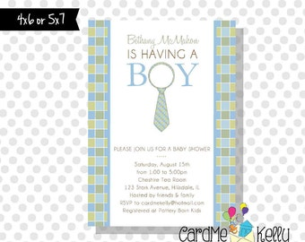 Printable Little Man Tie Necktie Baby Boy Baby Shower Invitation- Digital File