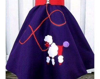 Red Hat Society Style Ladies Hand-Made Felt 1950s Fifties Retro Purple Poodle Skirt