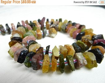 1st ANNIVERSARY SALE--- Beautiful Multi Tourmaline hammered rough nugget beads/8x3-9x4mm/8 inches