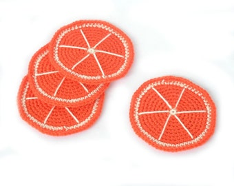 Orange Crochet Coasters, set of 4, summer table decoration